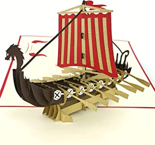 4cd28fb9008 PopLife Warrior Viking Ship 3D Pop Up Card for All Occasions - Happy  Anniversary Pop Up