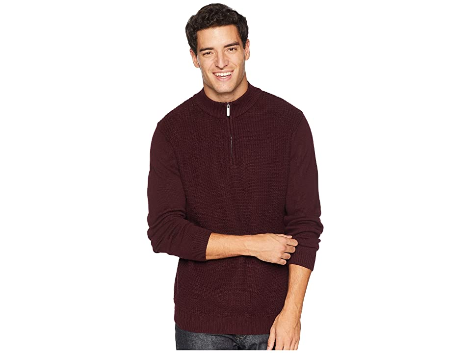 Ben Sherman 1/4 Zip Funnel Neck Sweater (Dark Red) Men