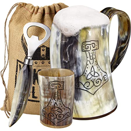 Game of thrones Tankard For beer mead wine ale Dogs, Large 16 oz Viking Drinking Horn Mugs Cup Tankard By Bhartiya Handicrafts Authentic Drink Mug with Medieval Burlap Gift Sack