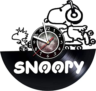 AMARAroom Snoopy Happy Dance - Wall Clock Made of Vinyl Record - Original Decor - Unique Design - Incredible Gift Idea for Christmas Birthday Anniversary Women Men Boyfriend Girlfriend Teens Friends