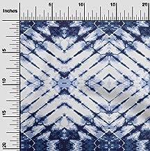 oneOone Cotton Poplin Twill Dark Navy Blue3 Fabric Geometric Shibori Dress Material Fabric Print Fabric by The Meter 56 In...
