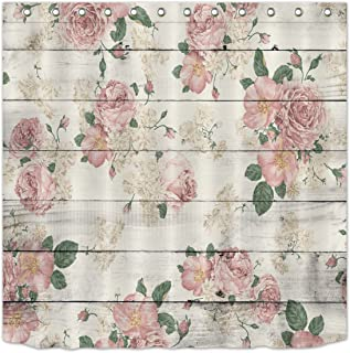 LB Pink Flower on Rustic Wood Panel Shower Curtain for Bathroom, Vintage Retro Country Floral Theme Curtain, Waterproof Curtain, 70 W x 78 L Extra Long