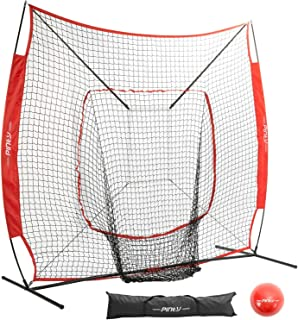 Pinty Baseball and Softball Practice Net 7×7/5×5ft Portable Hitting Batting Training Net with Target Zone Bundle, Weighted Training Balls and Carry Bag