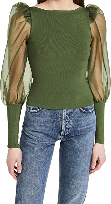 Alice + Olivia Women's Abella Puff Sleeve Sweater