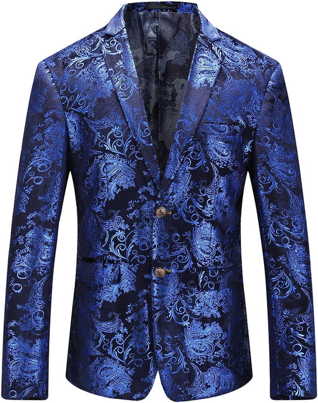 ebossy Men's Paisley Floral Suit Jacket Luxury 2 Button Slim Blazer Sport Coat Dinner Party Wedding Prom