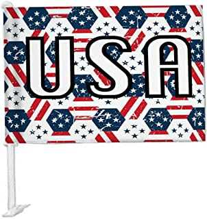 USA Women's World Cup Soccer Car Flag for Window - Double Sided - Premium Screen Printed on Both Sides for United States Vehicle Flags for Doors – Girl's Sports 4th of July Pride - 12