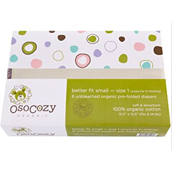 OsoCozy Organic Cotton Prefolds (Infant Short (6-16 lbs)