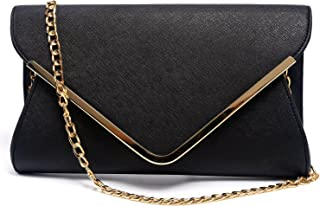 Women Evening Envelope Handbag PU Leather Clutch Bag Formal Flap Purse Shoulder Bag,Large.