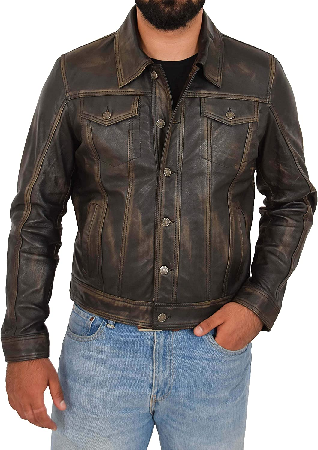 HOL Mens Leather Trucker Jacket Slim Fit Authentic 501 Style Terry Black Two Tone