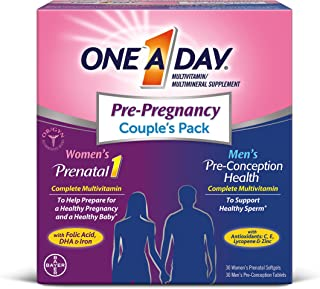 ONE A DAY Men's & Women's Pre-Pregnancy Multivitamin, Supplement for Before, During, and Post Pregnancy, Including Vitamins A, C, D, E, B6, B12, Folic Acid, 30+30 Count