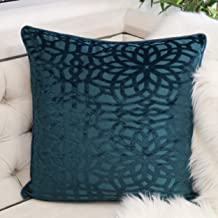 Homey Cozy Modern Velvet Throw Pillow Cover,Cerulean Luxury Soft Fuzzy Cozy Warm Slik Decorative Square Couch Cushion Pillow Case 20 x 20 Inch, Cover Only