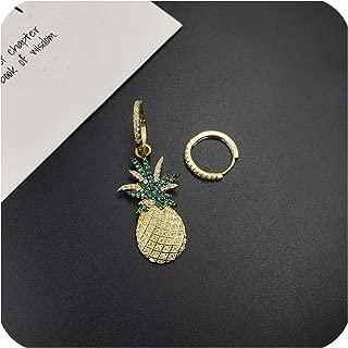 New Golden Crystal Rhinestone Yellow Pineapple Earrings Luxury Wild Star Earrings