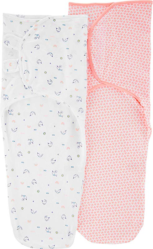 Carter S Baby Girls 2 Pack Cotton Swaddle Blankets Hearts