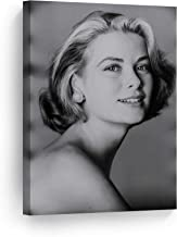 SmileArtDesign Monaco Princess Grace Kelly Poses for a Portrait Black and White Wall Art Canvas Print American Icon Artwork Living Room Bedroom Home Decor Ready to Hang Made in USA 12x8