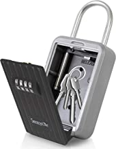 Padlock Key Safe Security Box - Realtor Hanging Steel Metal Coded Key Holder Keeper Cabinet w/ 4-Digit Combination Code Lo...