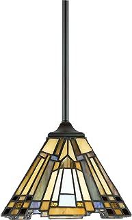 Quoizel TFIK1508VA Inglenook Tiffany Mini Pendant Lighting, 1-Light, 100 Watts, Valiant Bronze (7