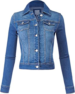 FashionMille Women Classic Casual Stretch Fit Denim Jean Jacket