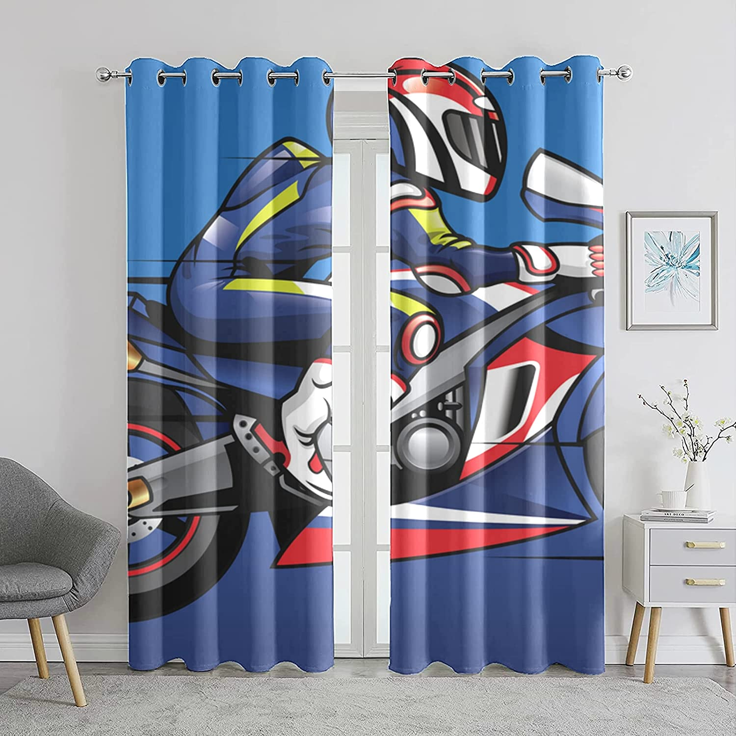 Bedroom Blackout Curtains Animation Free shipping on posting reviews Riding Roo Spring new work Living Motorcycle