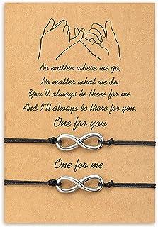 Cheerslife Infinity Friendship Bracelets for 2 Endless Love Distance Matching Bracelet for Best Friends Relationship Wish String Handmade Cord Gift for Women Mens