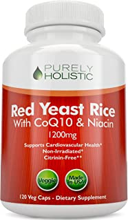 Sponsored Ad - Red Yeast Rice 1200mg with CoQ10 & Flush Free Niacin, 120 Vegan and Vegetarian Capsules - Non Irradiated - ...
