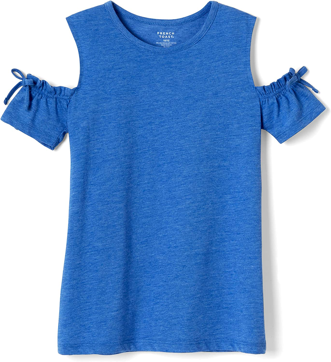 French Toast Girls' Short Sleeve Cold Shoulder Bow Top