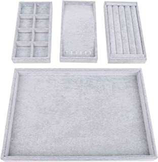STYLIFING Grey Velvet 12 Grid Jewelry Tray Showcase Removable Display Storage Box for Girls Women ¡ (4 in 1 Grey)