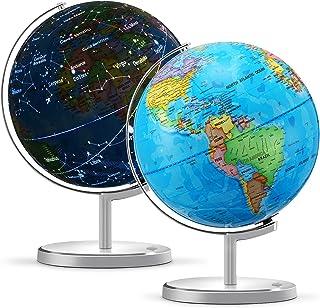 "World Globe for Kids، 13 ""Diameter 3 in 1 Illuminated Spinning World Globe Display Nightlight ، Earth Globe with Heavy Duty Stand for Kids LED Light Night Light ، نقشه سیاسی و صورت فلکی"