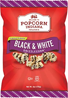 Popcorn Indiana Drizzlecorn, Black & White, 6 Ounce Bag (Pack of 6)