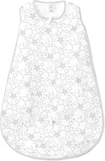 SwaddleDesigns Cotton Muslin Sleeping Sack with 2-Way Zipper, Sterling Starshine, Small (0-6 Months)