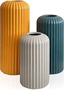 Rumi Décor Modern Ceramic Vases for Decor - Living Room Decor, Coffee Table Decor, Home Decor, Fireplace Decor, Shelf Decor Accents, Dining Room Table Decor - Farmhouse Kitchen Decor Ceramic Vase