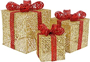Sunnyglade Set of 3 Christmas Lighted Gift Boxes with Bows Present Boxes for Christmas, Weddings Yard Home Holiday Art Decorations (Gold)