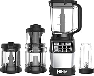 Ninja 4-in-1 Blender and Food Processor System, 1200-Watt Auto-iQ Base with Blending, Processing, Spiralizing, Mixing, and Dough (AMZ012BL), Black