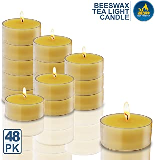 Ner Mitzvah Pure Beeswax Tealight Candles Handmade in USA - 48 Pack - 4 Hour Burn Time, Clear Cup