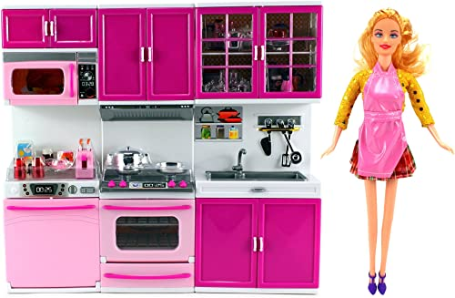 My Happy Kitchen Dishwasher Oven Sink Battery Operated Toy Doll Kitchen Playset w  Doll, Lights, Sounds, Perfect for Use with 11-12 Tall Dolls