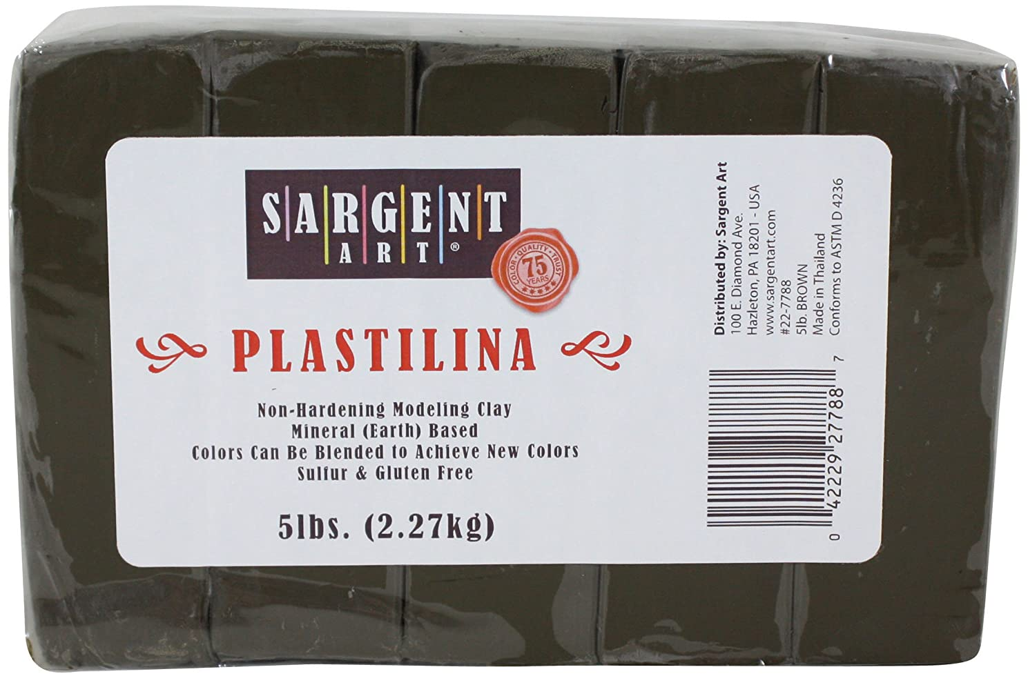 Sargent Art Plastilina Modeling Clay, 5-Pound, Brown