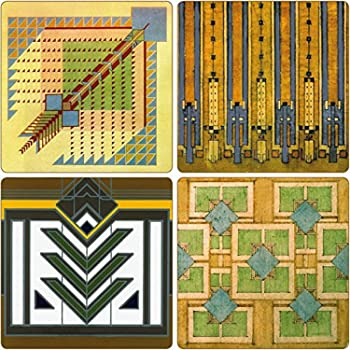 """CoasterStone Absorbent Coasters, 4-1/4-Inch, """"Frank Lloyd Wright Rug Designs"""", Set of 4"""