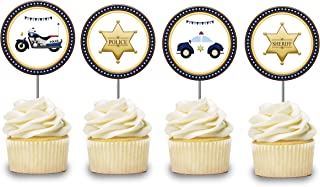 Police Cupcake Toppers 12 pcs, Cops Cake Picks Birthday Decoration, Sheriff Party Supplies, Badge Themed Baby Shower