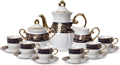 Euro Porcelain Premium 17-pc Dark Cobalt Blue Tea Cup Coffee Set, 24K Gold-Plated Vintage Flower Pattern, Complete Service for 6, Original Czech Tableware