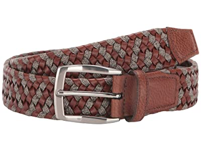 Torino Leather Co. 35 mm Braided Leather Linen Stretch (Cognac/Taupe) Men