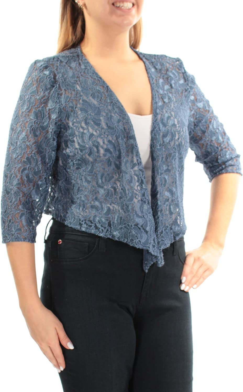 Alex Evenings Womens bluee Lace Sheer 3 4 Sleeve Open Top US Size  14