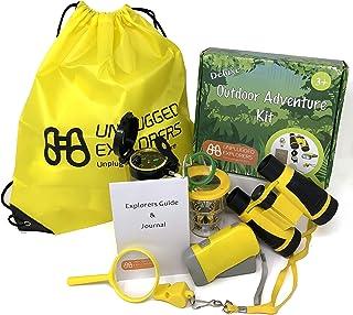 Unplugged Explorers 9 Piece Outdoor Toys Kids Adventure Kit - Purple or Yellow Backpack, Binoculars, Flashlight, Compass, ...