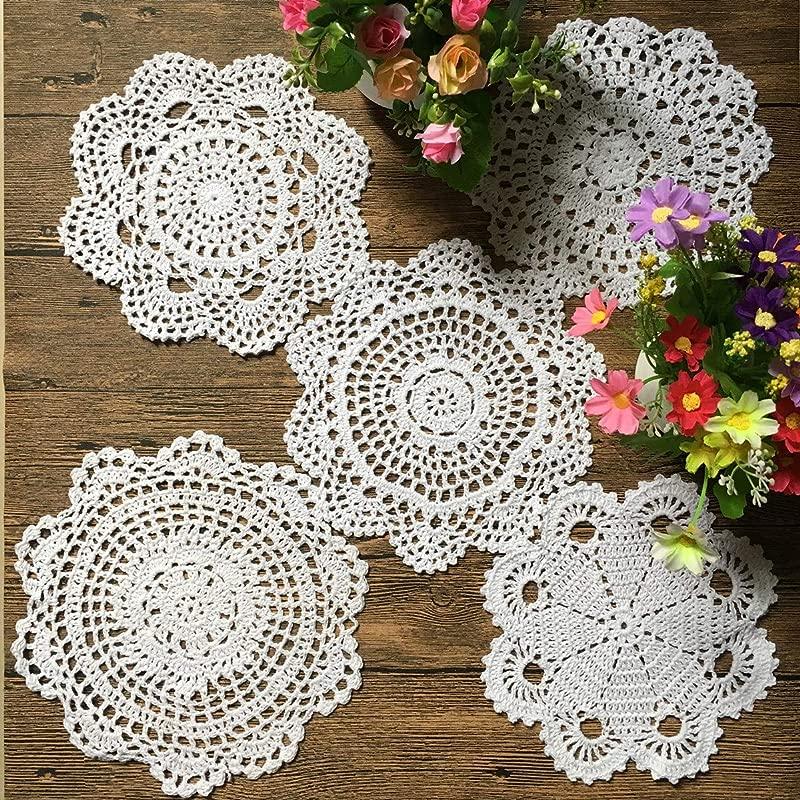 MindPlus 18 25cm Original Design 5 Pcs 100 Cotton Hand Made Crochet Doilies Cup Mat Pad Coaster 5 Vintage Crochet Motifs White White