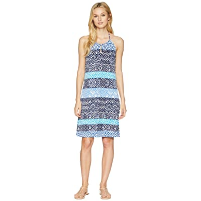 Tommy Bahama Mayan Maze Halter Dress (Ocean Deep) Women
