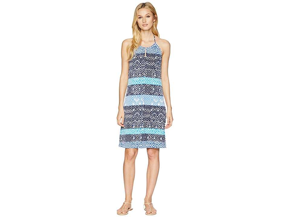 Tommy Bahama Mayan Maze Halter Dress (Ocean Deep) Women's Dress, Blue