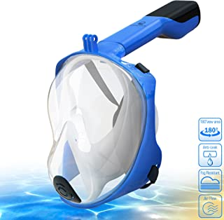 AQUALATION [New 2019 Upgraded] Snorkel Mask Full Face - 180° Large Panoramic View - Snorkeling Mask with Camera Mount, Easy Breath Dry Top Set, Anti-Fog for Men, Women, Adults Youth (L/XL)
