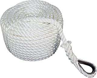 SGT KNOTS Twisted Nylon Anchor Rope (3/8 inch - 1/2 inch) with Thimble 3 Strand Braid - Rot, Chemical, Moisture, Abrasion Resistant - Anchor Rode Setup, Docking, Pulling, Hoist, Pulley, Camping