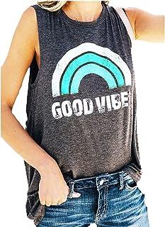 Cami Women's Good Vibe Tank Tops Tees Casual Rainbow Letters Print Vest T-Shirt Top Blouse Shirt Teens (Color : Green, Siz...