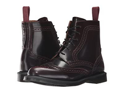 Dr. Martens Delphine 6-Eye Brogue Boot (Cherry Red Arcadia) Women