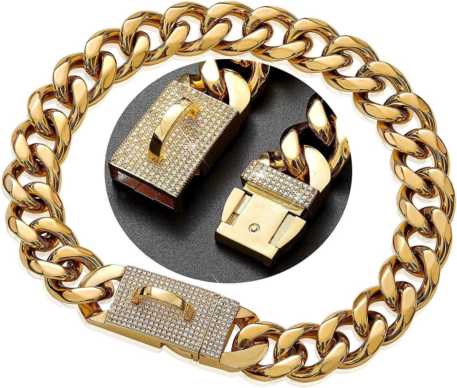 18K Dallas Mall Gold Dog Collar Chain Necklace Strong Be super welcome Diamond Buckle with S