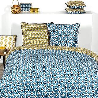Côté Déco Parure de lit DAKA 100% Coton : 1 Housse de Couette 240x220 cm + 2 taies d'oreiller 65x65 cm